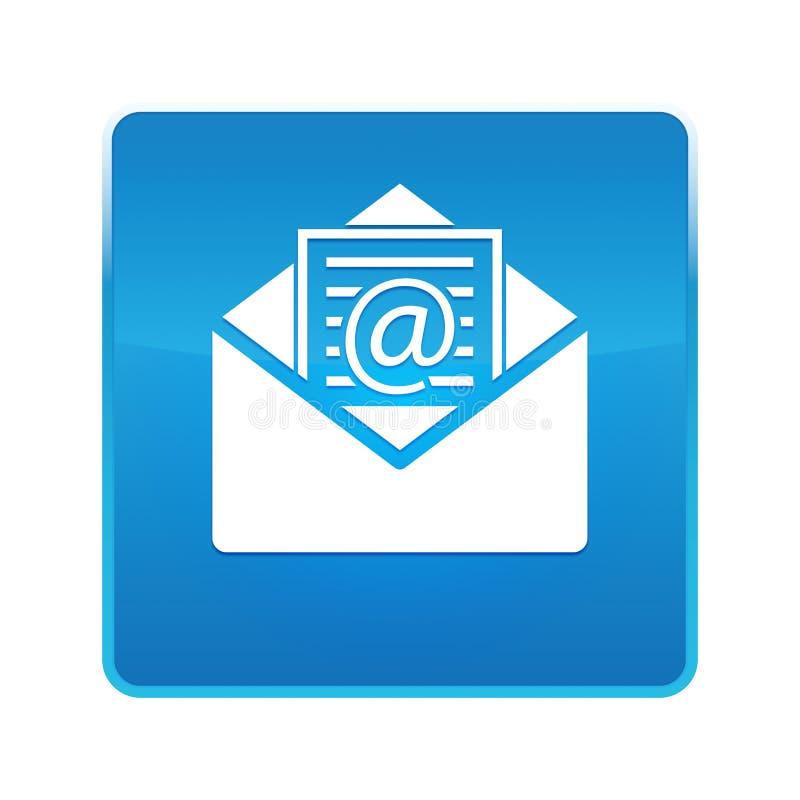 Bottone quadrato blu brillante dell'icona del email del bollettino illustrazione vettoriale