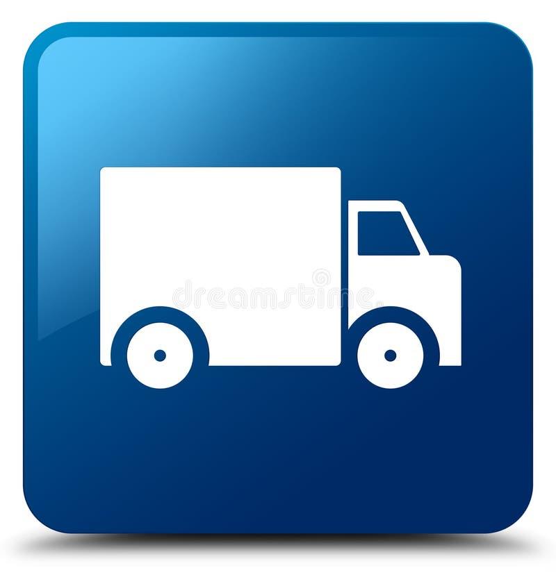 Bottone quadrato blu dell'icona del camion di consegna royalty illustrazione gratis