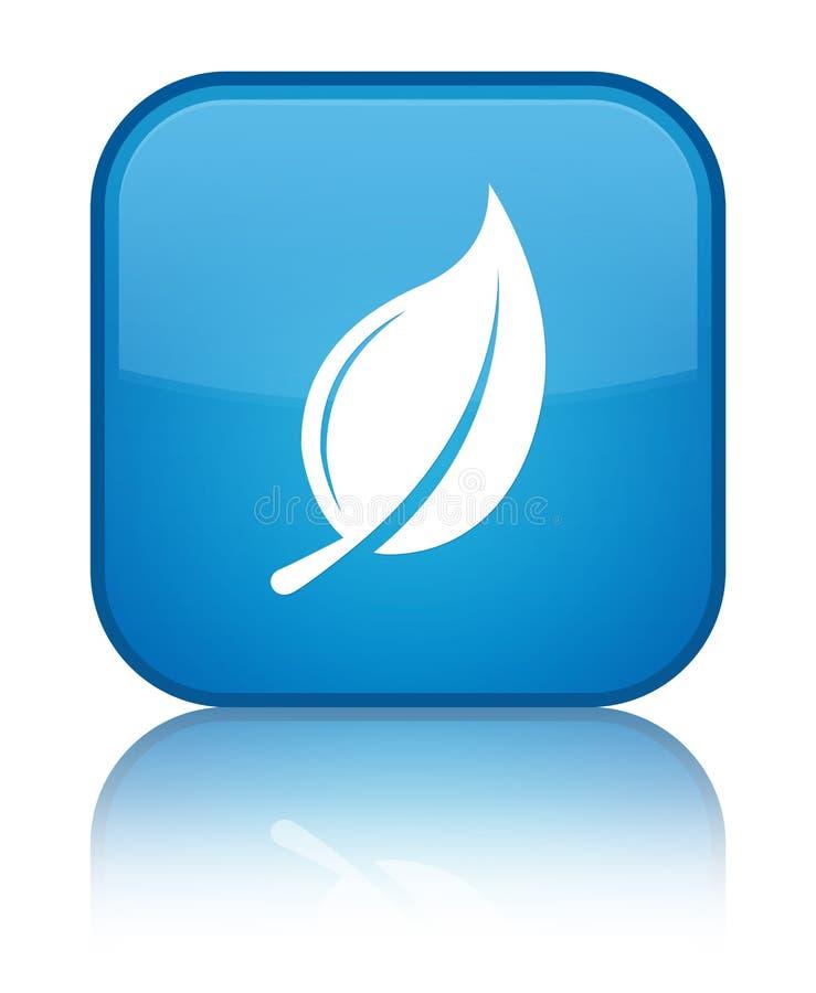Bottone quadrato blu speciale dell'icona della foglia ciano illustrazione vettoriale