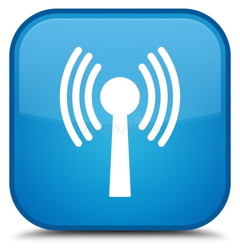 Bottone quadrato blu speciale dell'icona della rete di Wlan ciano illustrazione vettoriale
