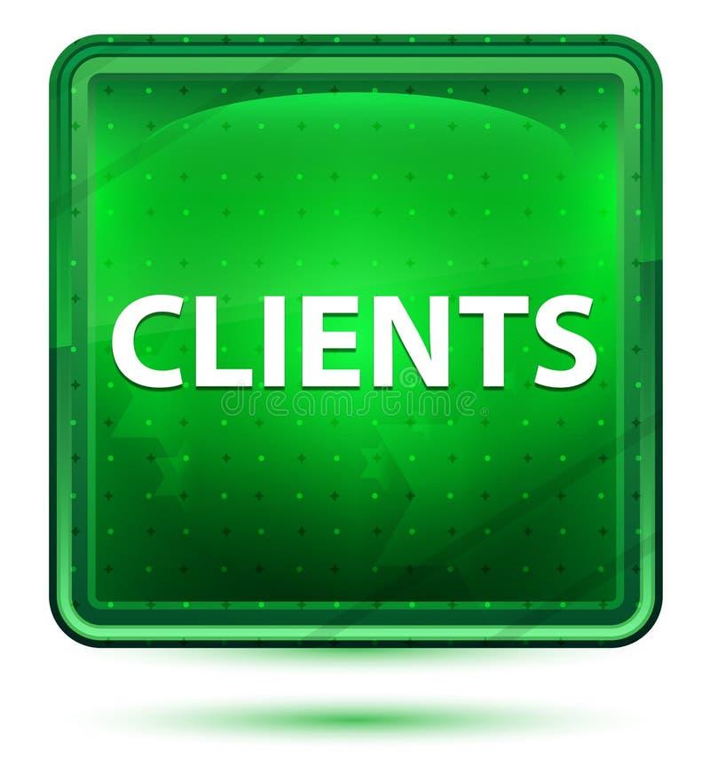 Bottone quadrato verde chiaro al neon dei clienti illustrazione di stock