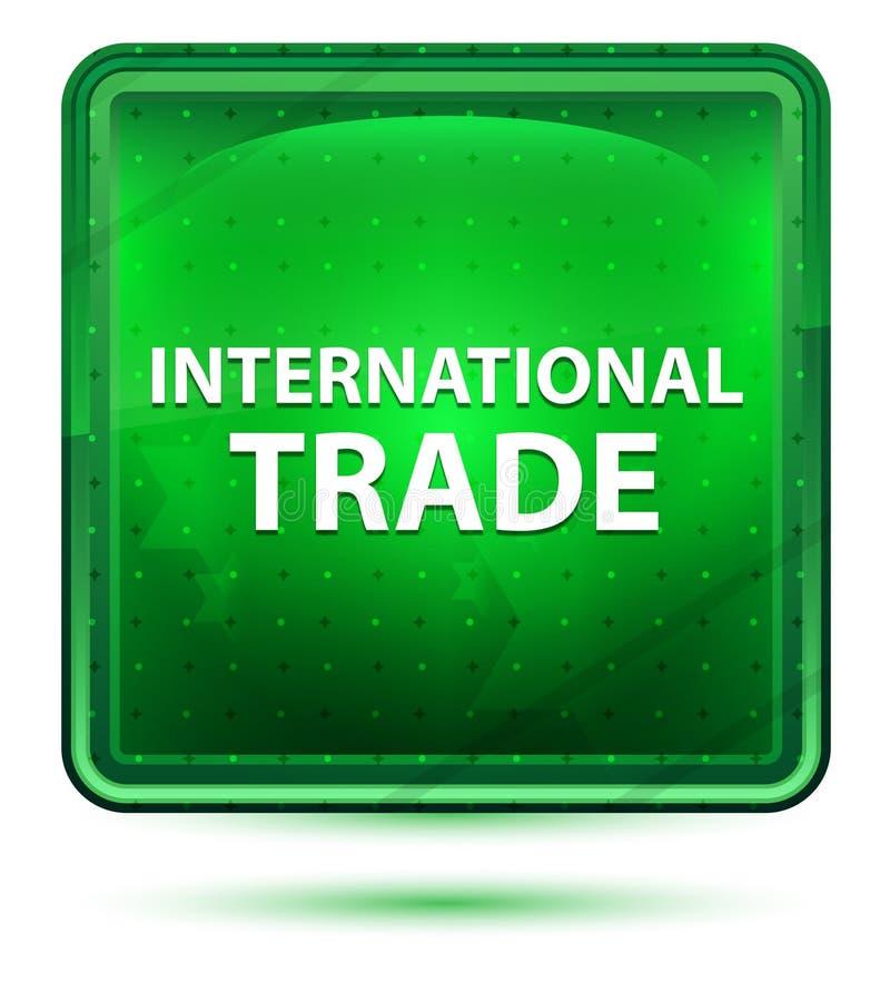 Bottone quadrato verde chiaro al neon del commercio internazionale illustrazione di stock