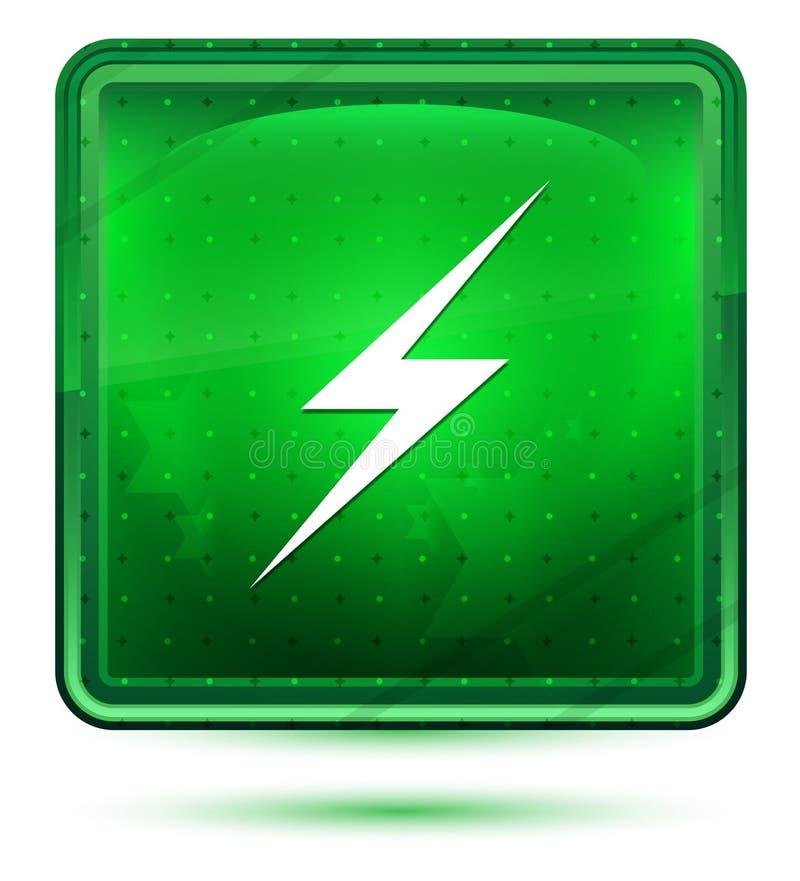 Bottone quadrato verde chiaro al neon dell'icona del fulmine illustrazione vettoriale