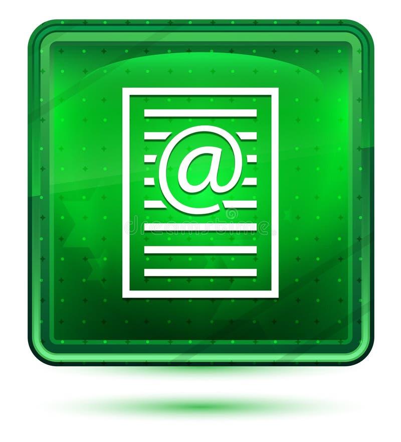 Bottone quadrato verde chiaro al neon dell'icona della pagina di indirizzo email illustrazione vettoriale