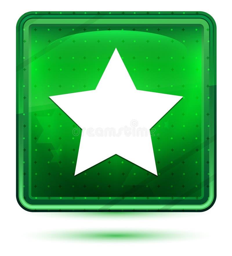 Bottone quadrato verde chiaro al neon dell'icona della stella illustrazione di stock