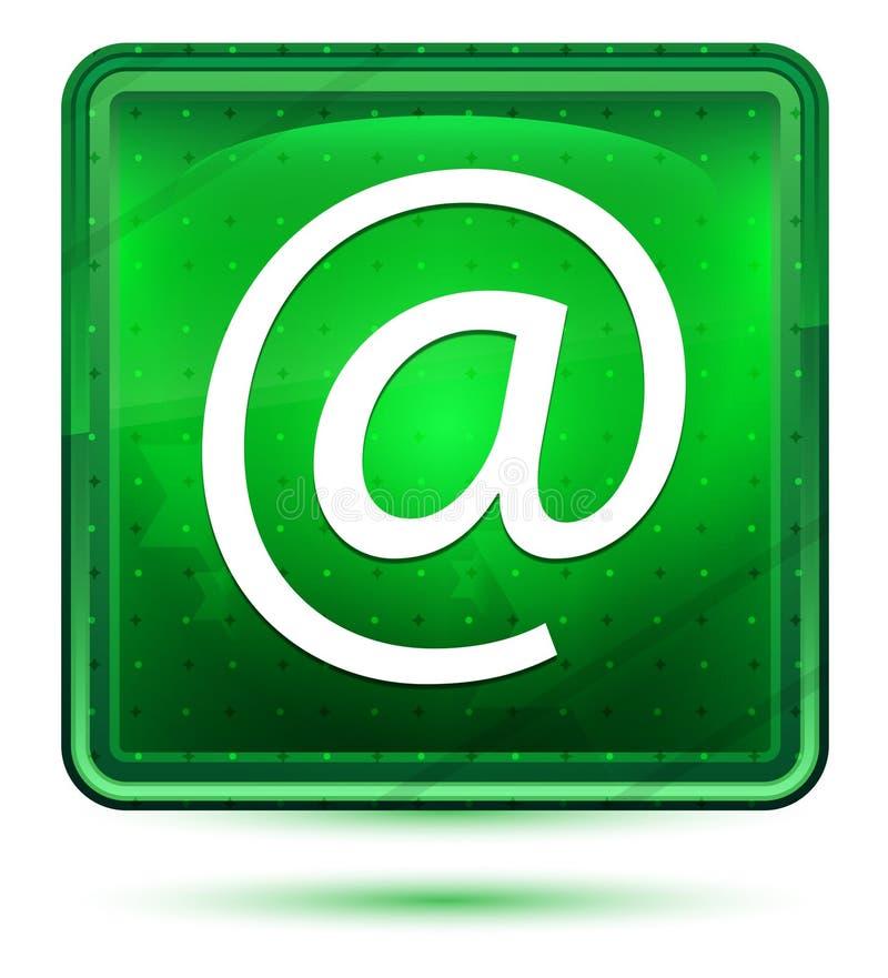 Bottone quadrato verde chiaro al neon dell'icona di indirizzo email illustrazione di stock