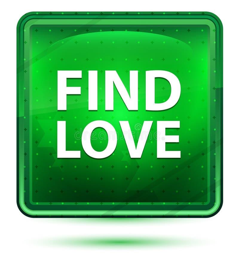 Bottone quadrato verde chiaro al neon di amore del ritrovamento illustrazione di stock