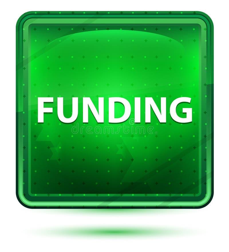 Bottone quadrato verde chiaro al neon di finanziamento illustrazione vettoriale