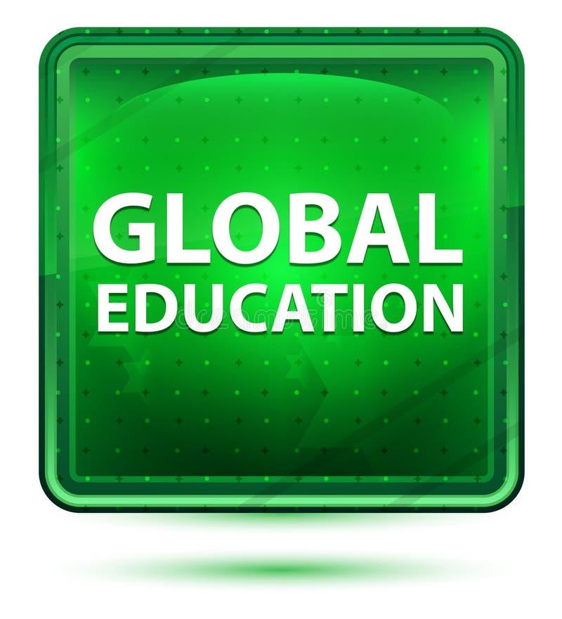 Bottone quadrato verde chiaro al neon di istruzione globale royalty illustrazione gratis