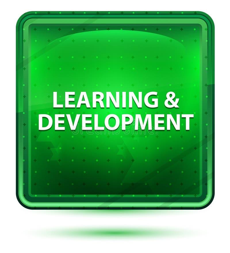 Bottone quadrato verde chiaro al neon di sviluppo & di apprendimento royalty illustrazione gratis