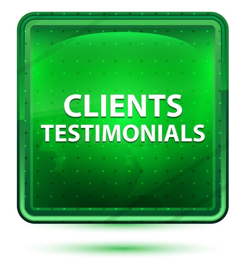 Bottone quadrato verde chiaro al neon di testimonianze dei clienti illustrazione vettoriale