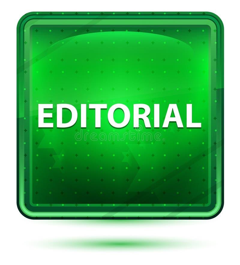 Bottone quadrato verde chiaro al neon editoriale illustrazione vettoriale
