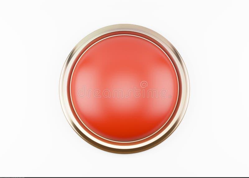 bottone rosso 3d isolato su bianco illustrazione di stock