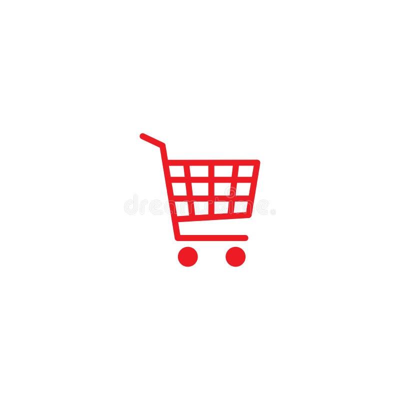 Bottone rosso del carrello Icona semplice isolata su fondo bianco Immagazzini il carrello con le ruote illustrazione vettoriale