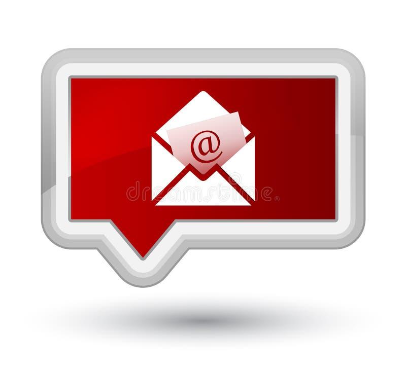 Bottone rosso dell'insegna di perfezione dell'icona del email del bollettino illustrazione vettoriale