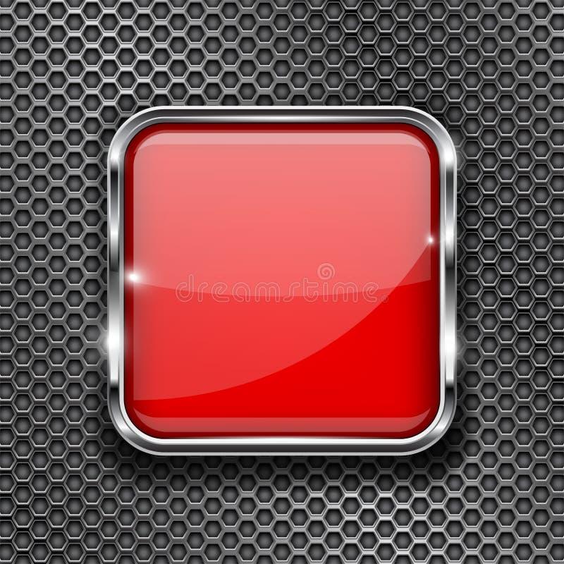 Bottone rosso di vetro 3d con la struttura del metallo su fondo perforato royalty illustrazione gratis