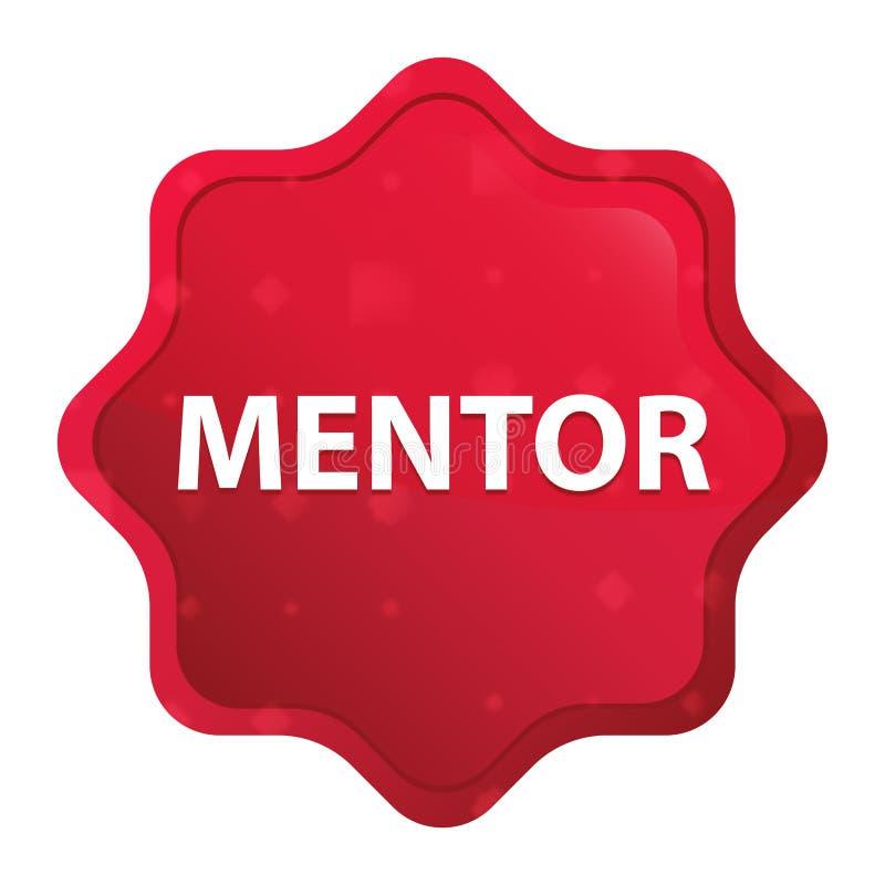 Bottone rosso rosa nebbioso dell'autoadesivo dello starburst del mentore illustrazione di stock
