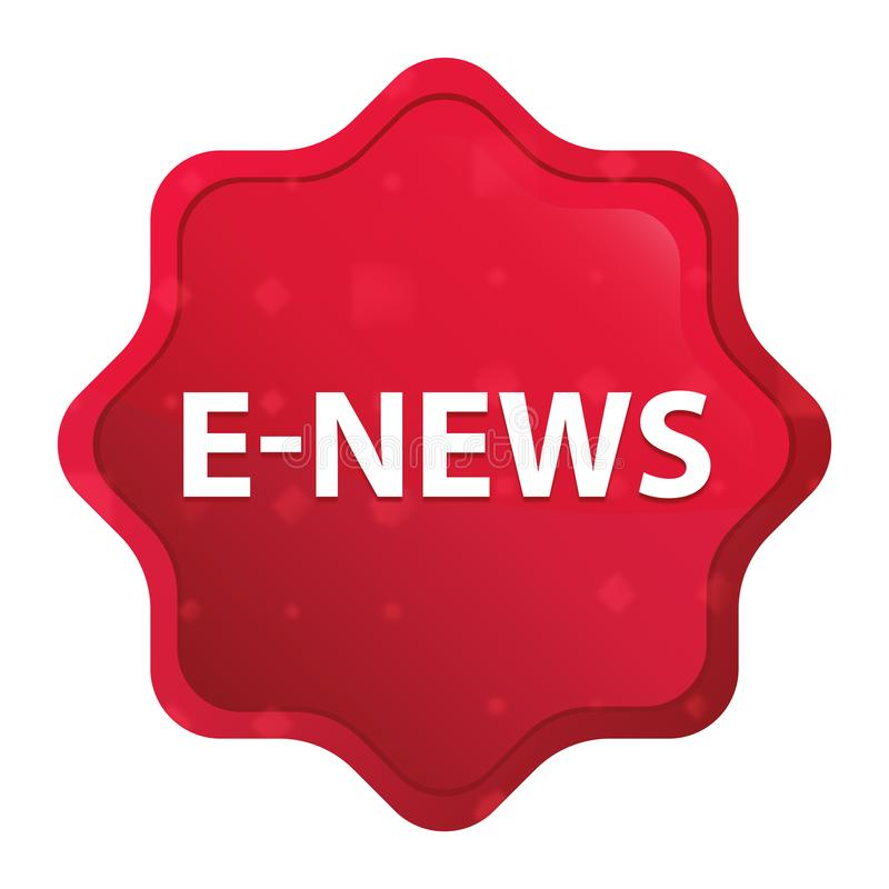 bottone rosso rosa nebbioso dell'autoadesivo dello starburst di E-notizie royalty illustrazione gratis