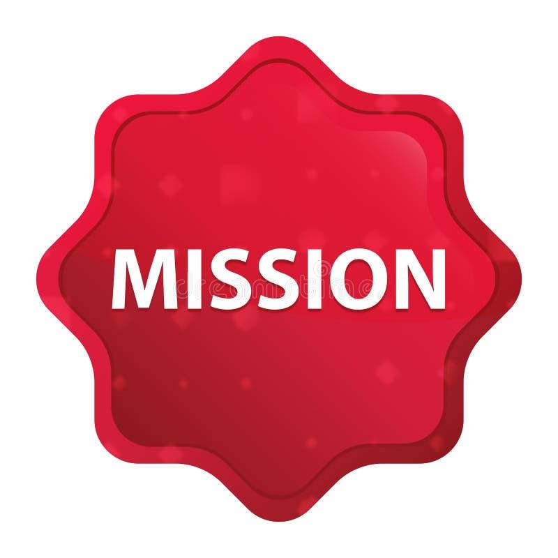 Bottone rosso rosa nebbioso dell'autoadesivo dello starburst di missione illustrazione vettoriale