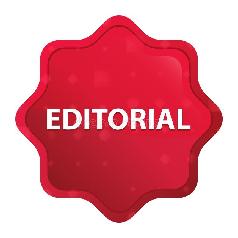 Bottone rosso rosa nebbioso editoriale dell'autoadesivo dello starburst illustrazione di stock