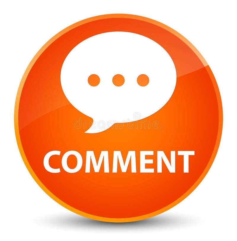 Bottone rotondo arancio elegante di commento (icona di conversazione) illustrazione di stock