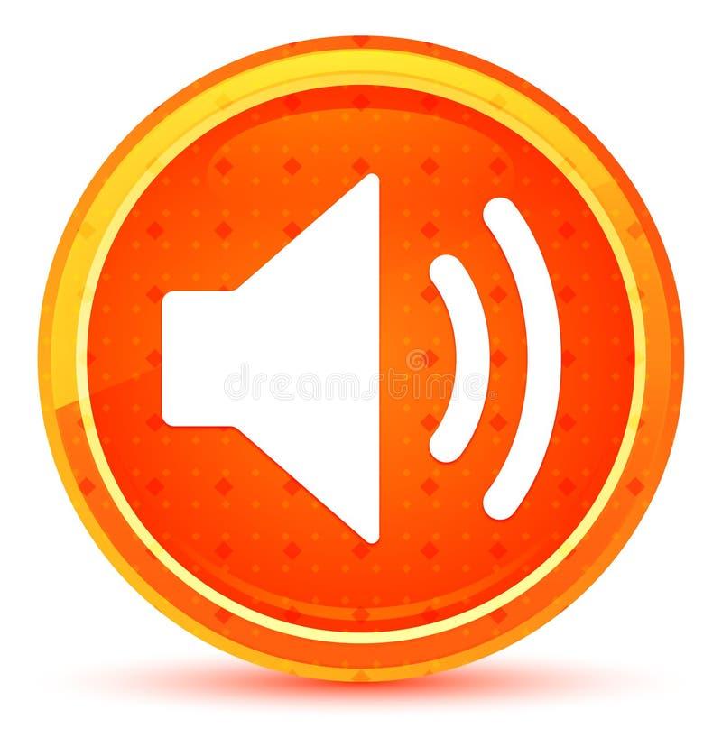 Bottone rotondo arancio naturale dell'icona dell'altoparlante del volume illustrazione di stock