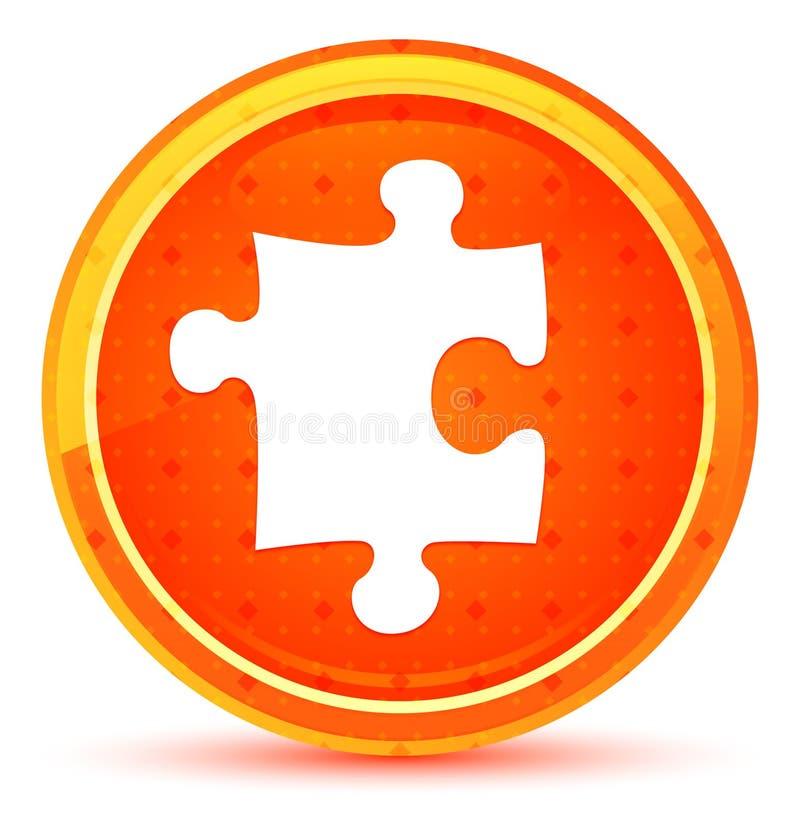 Bottone rotondo arancio naturale dell'icona di puzzle illustrazione di stock