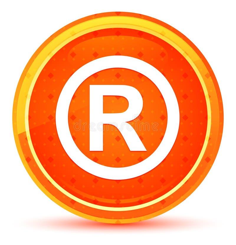 Bottone rotondo arancio naturale registrato dell'icona di simbolo illustrazione vettoriale
