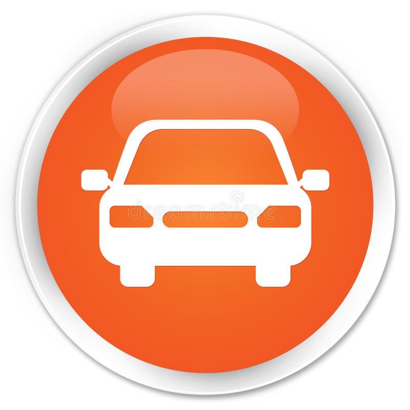 Bottone rotondo arancio premio dell'icona dell'automobile illustrazione di stock