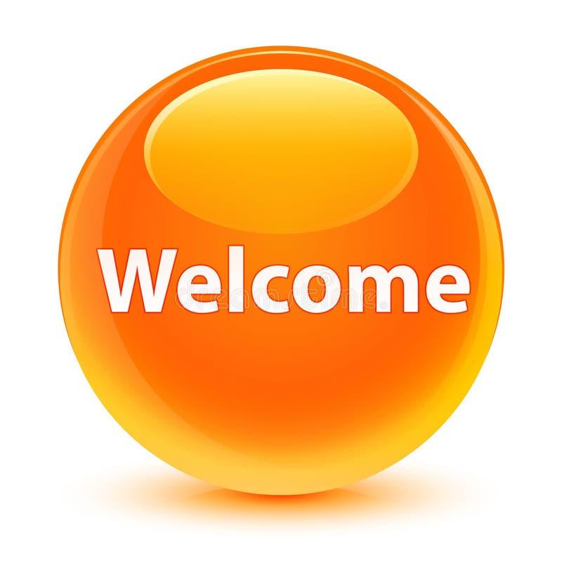 Bottone rotondo arancio vetroso benvenuto illustrazione di stock