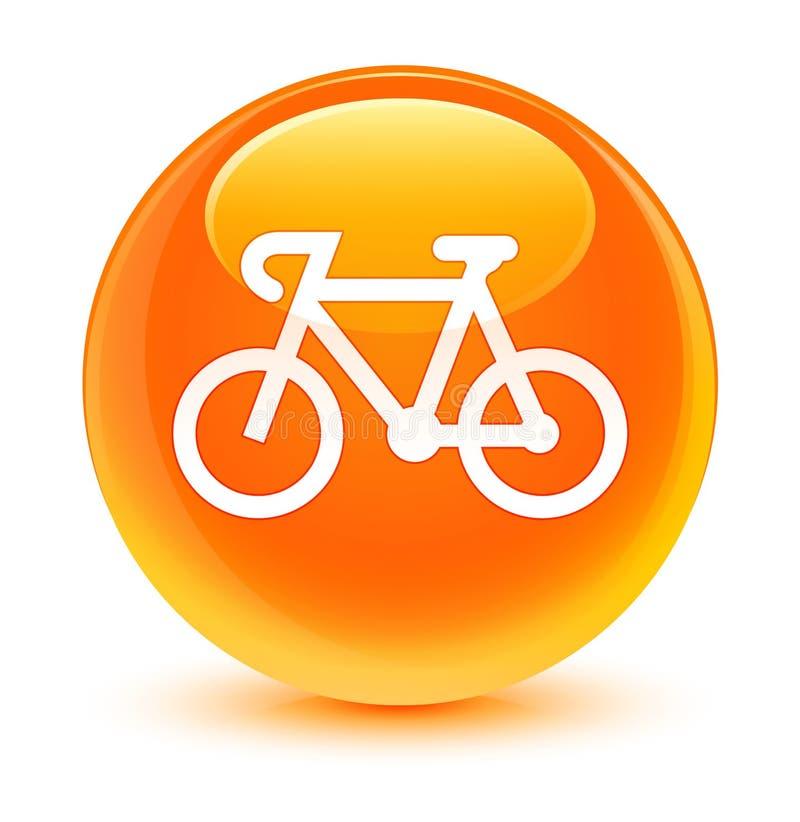Bottone rotondo arancio vetroso dell'icona della bicicletta royalty illustrazione gratis