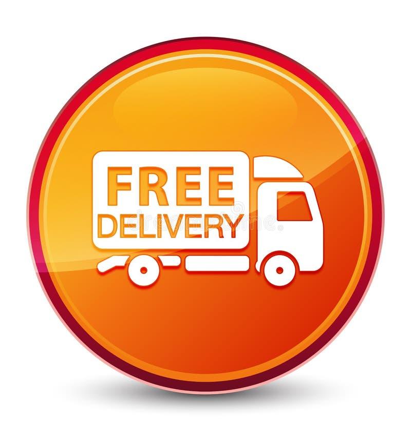 Bottone rotondo arancio vetroso speciale dell'icona del camion di consegna gratuita illustrazione vettoriale