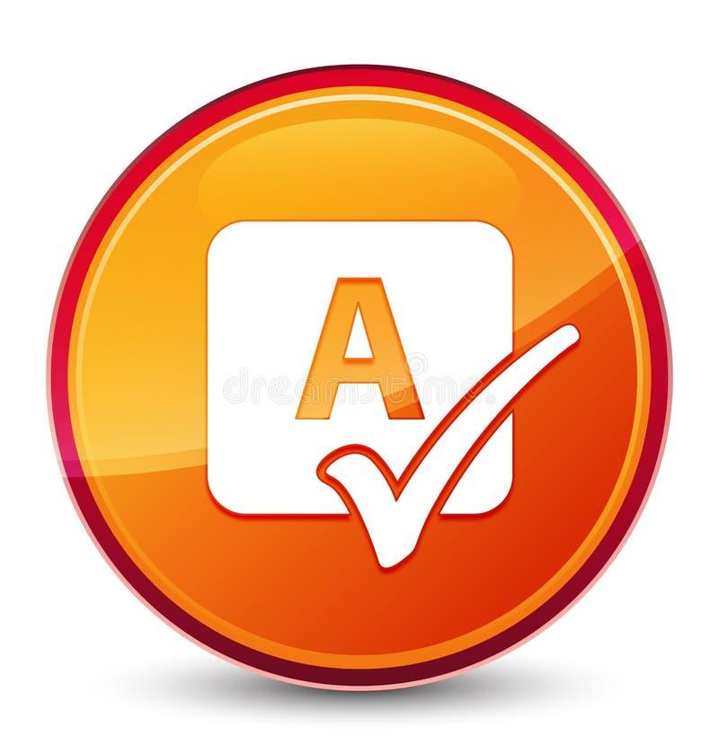 Bottone rotondo arancio vetroso speciale dell'icona del controllo ortografico illustrazione di stock