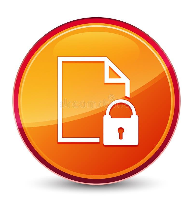 Bottone rotondo arancio vetroso speciale dell'icona del documento sicura illustrazione vettoriale