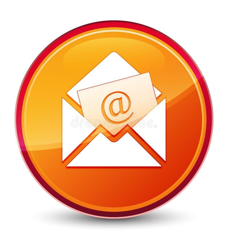 Bottone rotondo arancio vetroso speciale dell'icona del email del bollettino illustrazione vettoriale