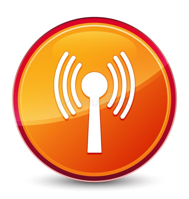 Bottone rotondo arancio vetroso speciale dell'icona della rete di Wlan illustrazione di stock