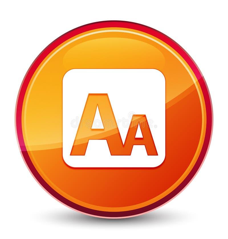 Bottone rotondo arancio vetroso speciale dell'icona della scatola di dimensione royalty illustrazione gratis