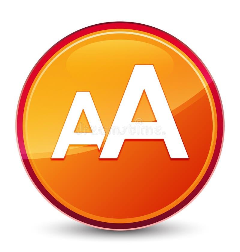 Bottone rotondo arancio vetroso speciale dell'icona di dimensione illustrazione vettoriale
