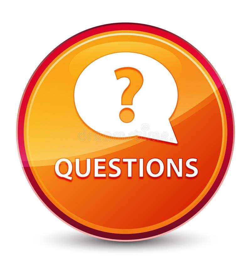 Bottone rotondo arancio vetroso speciale di domande (icona della bolla) royalty illustrazione gratis