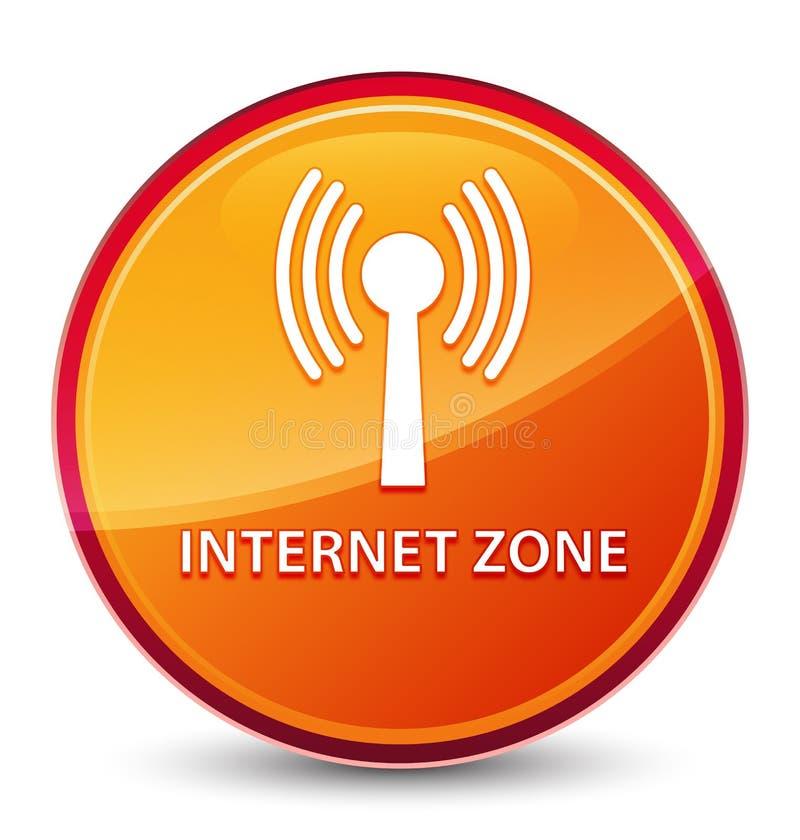 Bottone rotondo arancio vetroso speciale di zona di Internet (rete wlan) illustrazione vettoriale