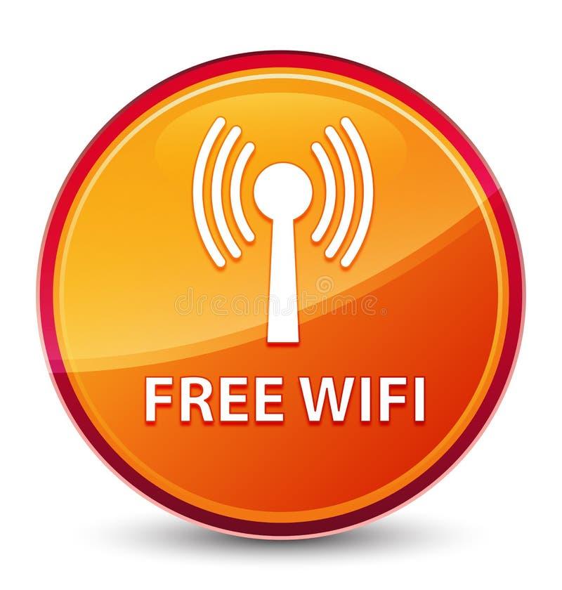 Bottone rotondo arancio vetroso speciale libero di wifi (rete wlan) royalty illustrazione gratis