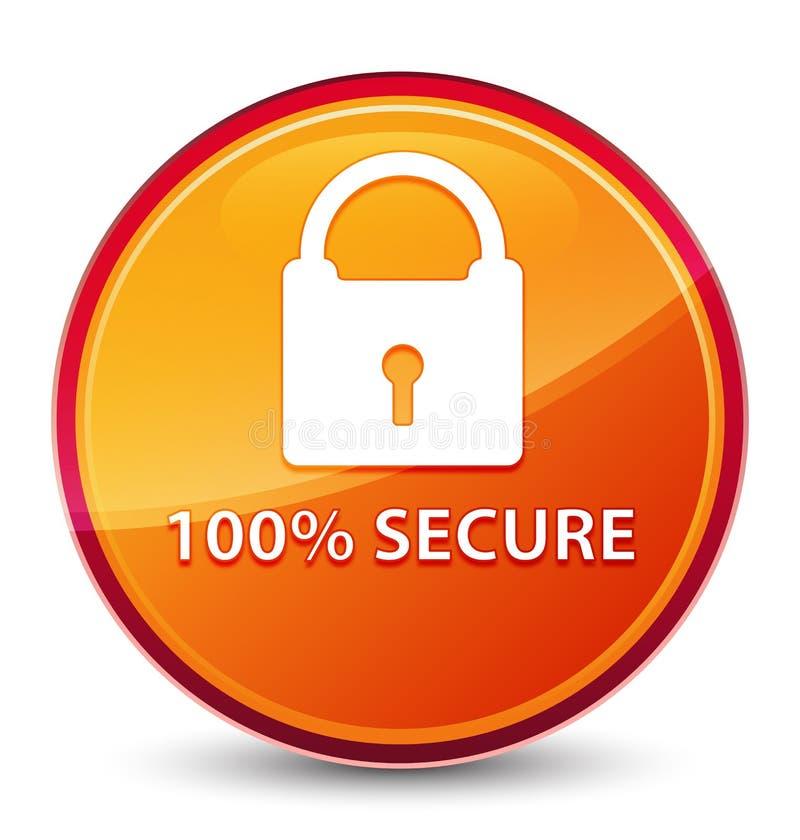 bottone rotondo arancio vetroso speciale sicuro di 100% illustrazione vettoriale