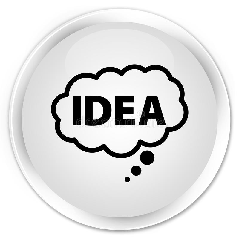 Bottone rotondo bianco premio dell'icona della bolla di idea illustrazione di stock