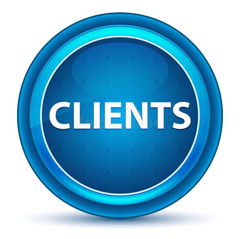 Bottone rotondo blu del bulbo oculare dei clienti illustrazione di stock