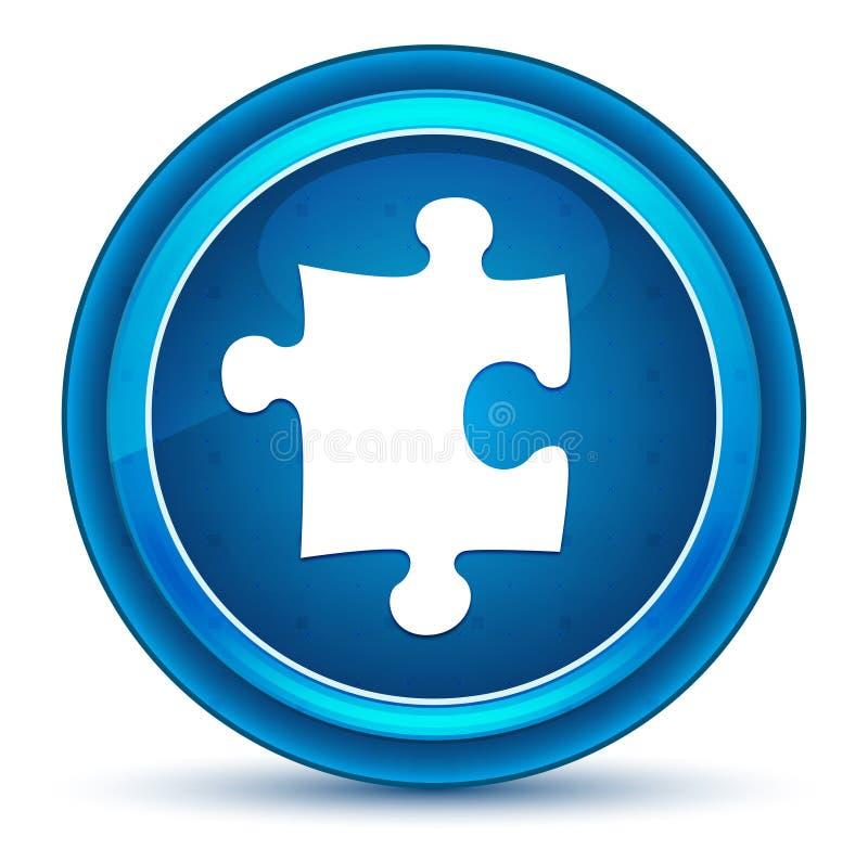 Bottone rotondo blu del bulbo oculare dell'icona di puzzle illustrazione di stock