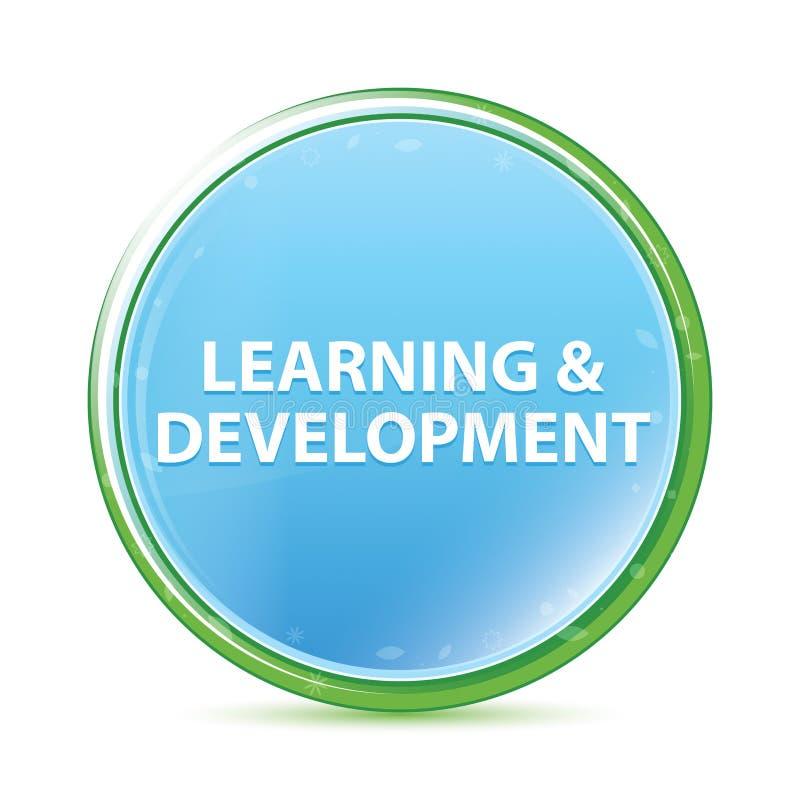 Bottone rotondo blu dell'acqua naturale di sviluppo & di apprendimento ciano illustrazione vettoriale