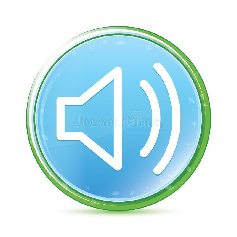 Bottone rotondo blu dell'acqua naturale dell'icona dell'altoparlante del volume ciano illustrazione di stock