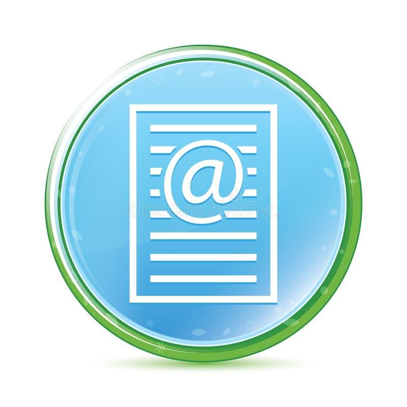 Bottone rotondo blu dell'acqua naturale dell'icona della pagina di indirizzo email ciano illustrazione di stock