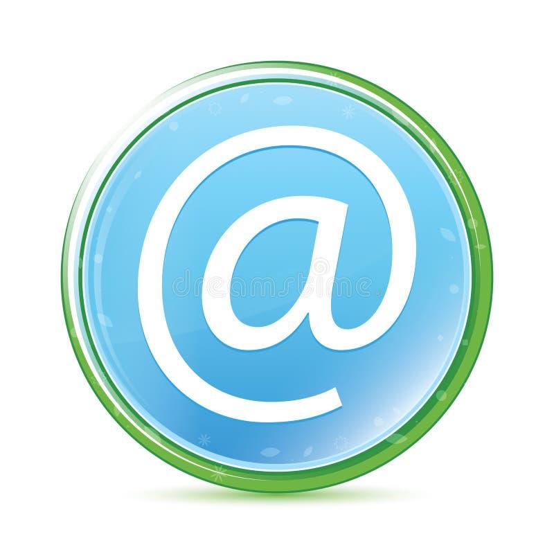 Bottone rotondo blu dell'acqua naturale dell'icona di indirizzo email ciano illustrazione vettoriale