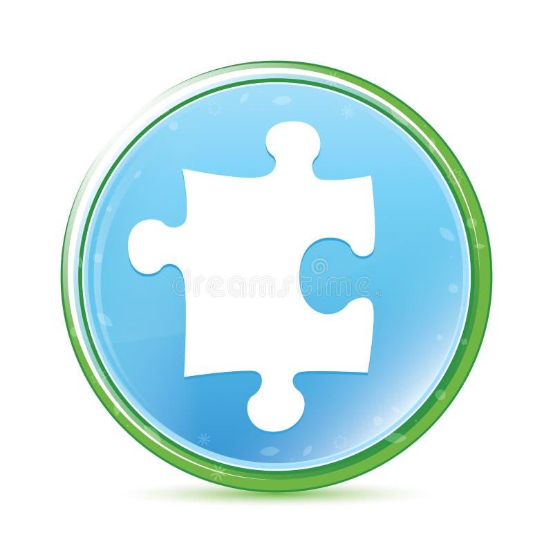 Bottone rotondo blu dell'acqua naturale dell'icona di puzzle ciano royalty illustrazione gratis